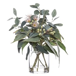 Flowering Eucalyptus Pail Flower Arrangement Vase