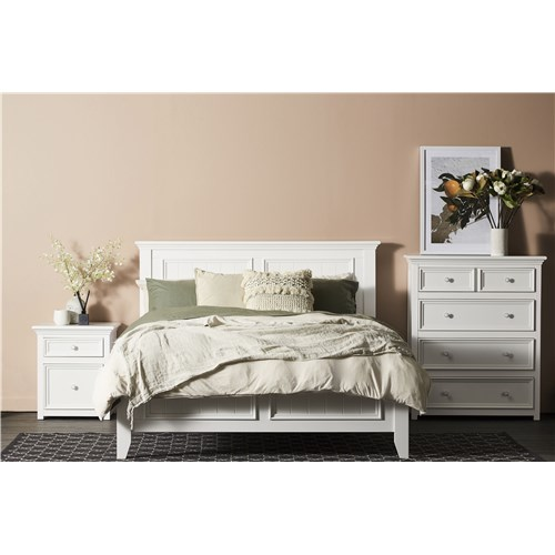 Queen Bed Frame.Mandalay White Queen Bed