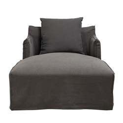 Como Linen Charcoal Day Bed Cover