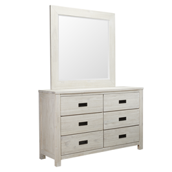 California Brushed White Dresser & Mirror