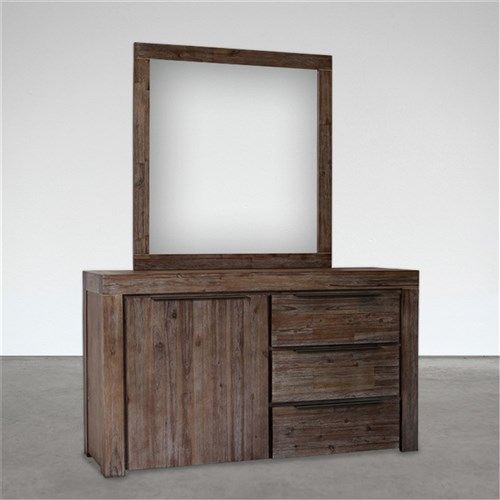 Cube Brushed Wenge Dressing Table Mirror